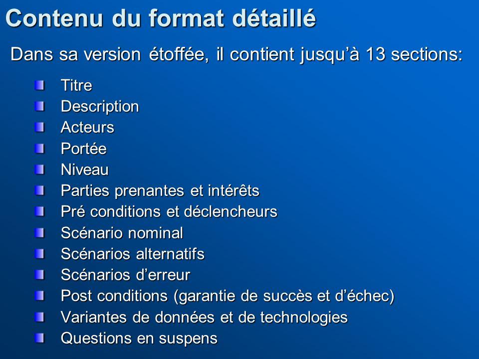 Dans sa version étoffée, il contient jusquà 13 sections: TitreDescriptionActeursPortéeNiveau Parties prenantes et intérêts Pré conditions et déclenche