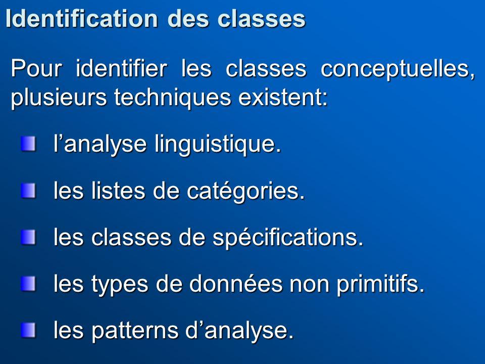 Pour identifier les classes conceptuelles, plusieurs techniques existent: lanalyse linguistique. les listes de catégories. les classes de spécificatio