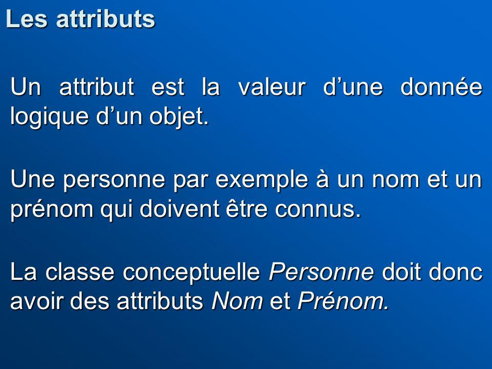 Un attribut est la valeur dune donnée logique dun objet. Une personne par exemple à un nom et un prénom qui doivent être connus. La classe conceptuell