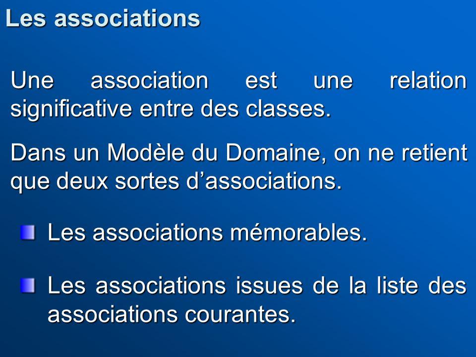 Une association est une relation significative entre des classes. Dans un Modèle du Domaine, on ne retient que deux sortes dassociations. Les associat