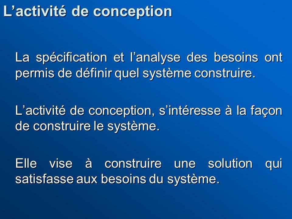 La spécification et lanalyse des besoins ont permis de définir quel système construire. Lactivité de conception, sintéresse à la façon de construire l