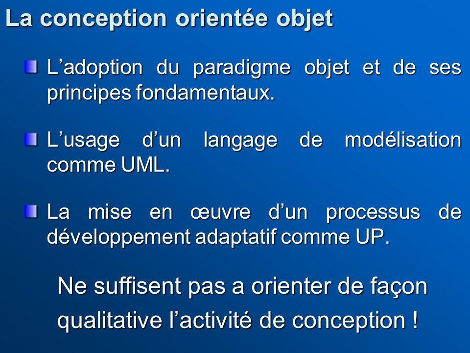 Ladoption du paradigme objet et de ses principes fondamentaux. Lusage dun langage de modélisation comme UML. La mise en œuvre dun processus de dévelop