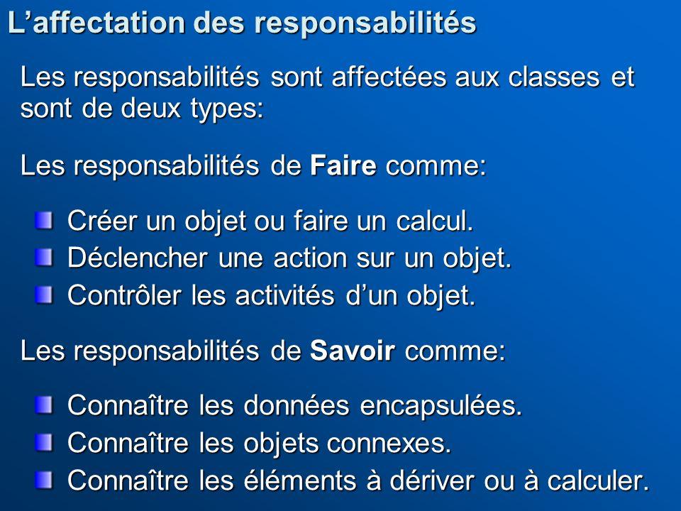 Les responsabilités sont affectées aux classes et sont de deux types: Les responsabilités de Faire comme: Créer un objet ou faire un calcul. Déclenche