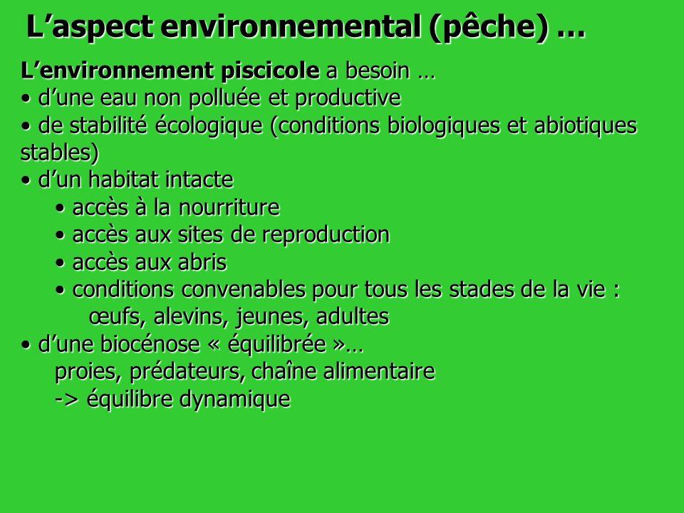 Lenvironnement piscicole a besoin … dune eau non polluée et productive dune eau non polluée et productive de stabilité écologique (conditions biologiq