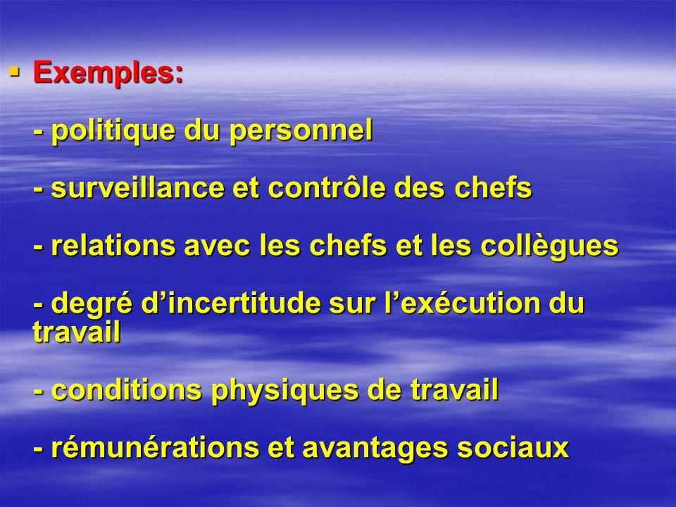 Exemples: - politique du personnel - surveillance et contrôle des chefs - relations avec les chefs et les collègues - degré dincertitude sur lexécution du travail - conditions physiques de travail - rémunérations et avantages sociaux