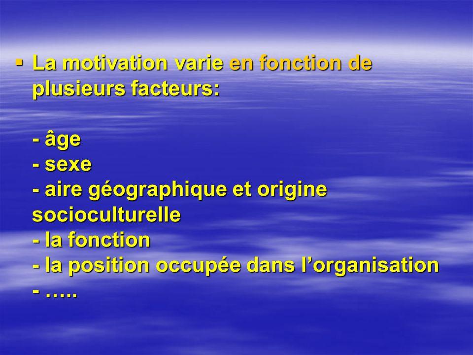 La motivation varie en fonction de plusieurs facteurs: - âge - sexe - aire géographique et origine socioculturelle - la fonction - la position occupée dans lorganisation - …..