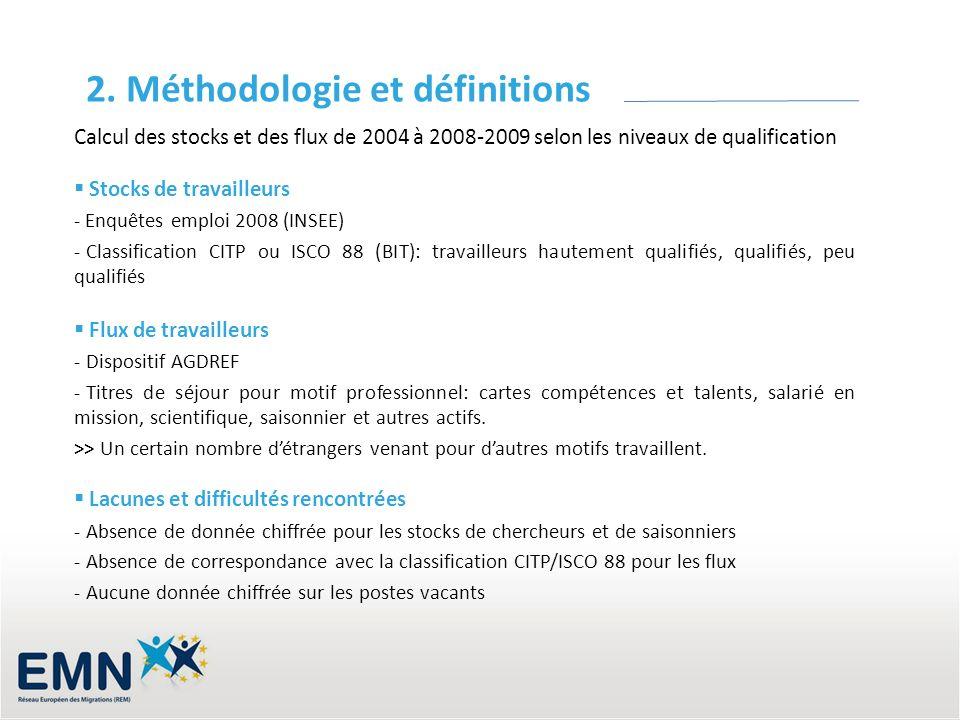 2. Méthodologie et définitions Calcul des stocks et des flux de 2004 à 2008-2009 selon les niveaux de qualification Stocks de travailleurs - Enquêtes
