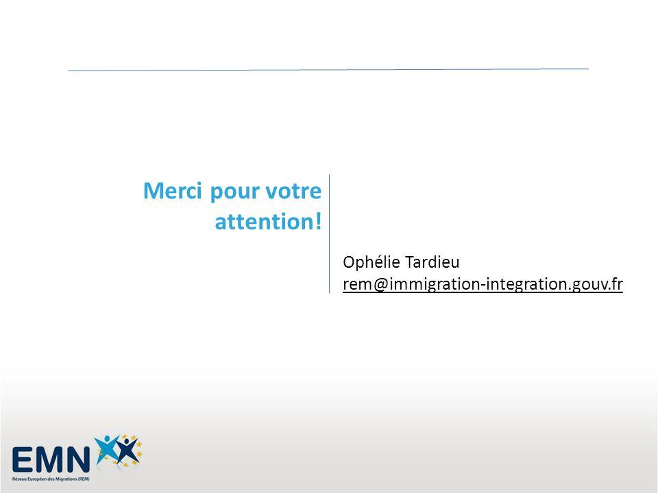 Merci pour votre attention! Ophélie Tardieu rem@immigration-integration.gouv.fr