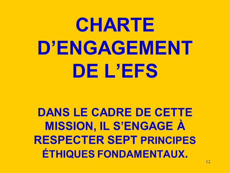 12 CHARTE DENGAGEMENT DE LEFS DANS LE CADRE DE CETTE MISSION, IL SENGAGE À RESPECTER SEPT PRINCIPES ÉTHIQUES FONDAMENTAUX.