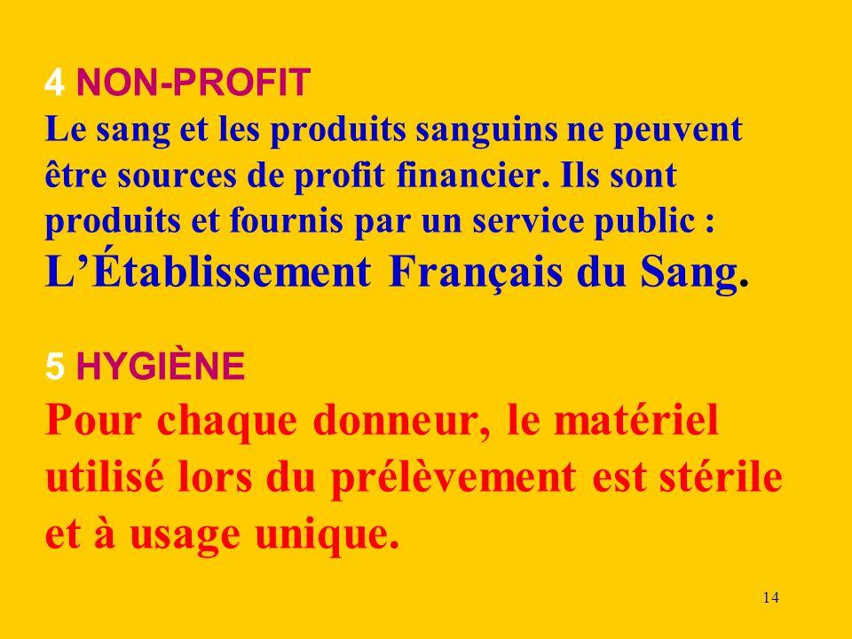 14 4 NON-PROFIT Le sang et les produits sanguins ne peuvent être sources de profit financier. Ils sont produits et fournis par un service public : LÉt