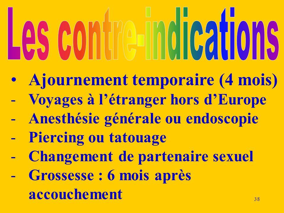 38 Ajournement temporaire (4 mois) -Voyages à létranger hors dEurope -Anesthésie générale ou endoscopie -Piercing ou tatouage -Changement de partenair