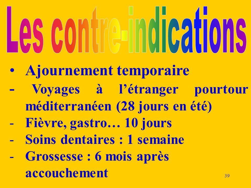 39 Ajournement temporaire - Voyages à létranger pourtour méditerranéen (28 jours en été) -Fièvre, gastro… 10 jours -Soins dentaires : 1 semaine -Gross
