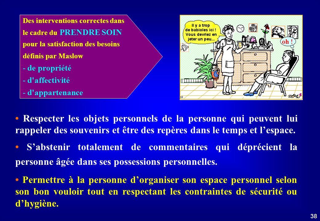 37 Droit à l'intimité Dans le cadre du prendre soin... 1 - Identifier les éléments incorrects 2 - Nommer les interventions correctes Droit à lintimité