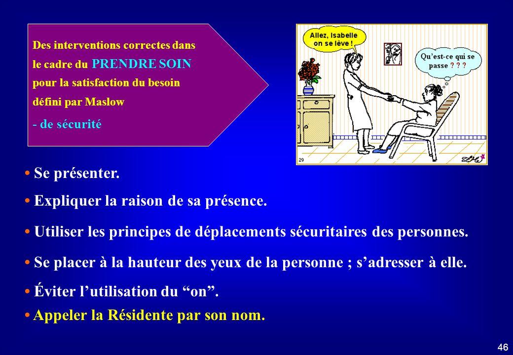 45 Droit au respect et à la dignité Dans le cadre du prendre soin... 1 - Identifier les éléments incorrects 2 - Nommer les interventions correctes Dro