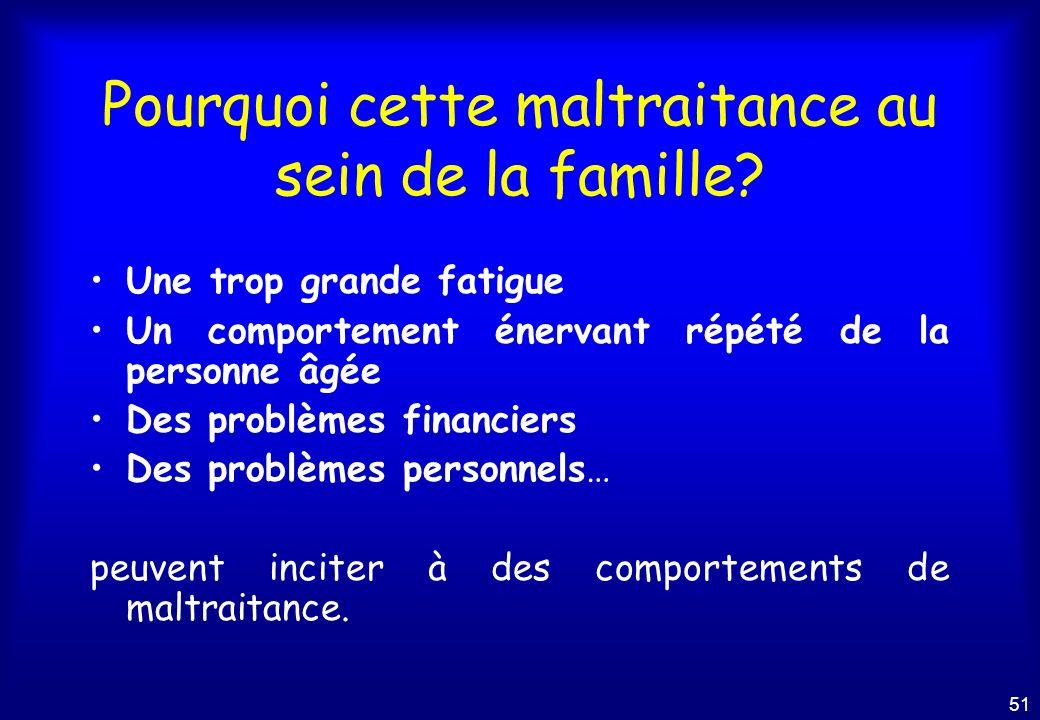 50 Qui maltraite en famille? Fils 37% Fille 28% Conjoint13% Neveux / nièces6% Belle-fille / Gendre6% Petits enfants2%