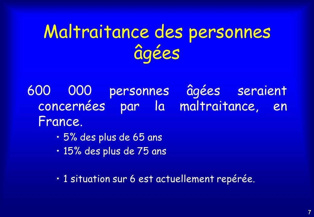 7 Maltraitance des personnes âgées 600 000 personnes âgées seraient concernées par la maltraitance, en France.