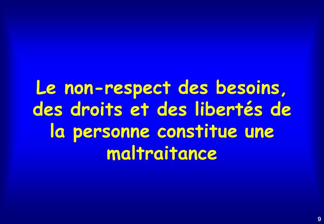 9 Le non-respect des besoins, des droits et des libertés de la personne constitue une maltraitance