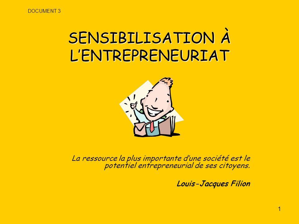 2 OBJECTIF DE LA RENCONTRE Se donner une compréhension commune du programme Sensibilisation à lentrepreneuriat