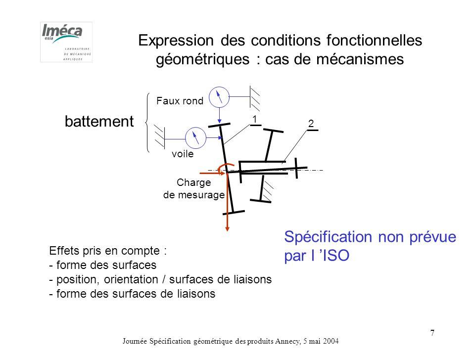 Journée Spécification géométrique des produits Annecy, 5 mai 2004 7 Effets pris en compte : - forme des surfaces - position, orientation / surfaces de liaisons - forme des surfaces de liaisons Faux rond voile Charge de mesurage 1 2 battement Expression des conditions fonctionnelles géométriques : cas de mécanismes Spécification non prévue par l ISO