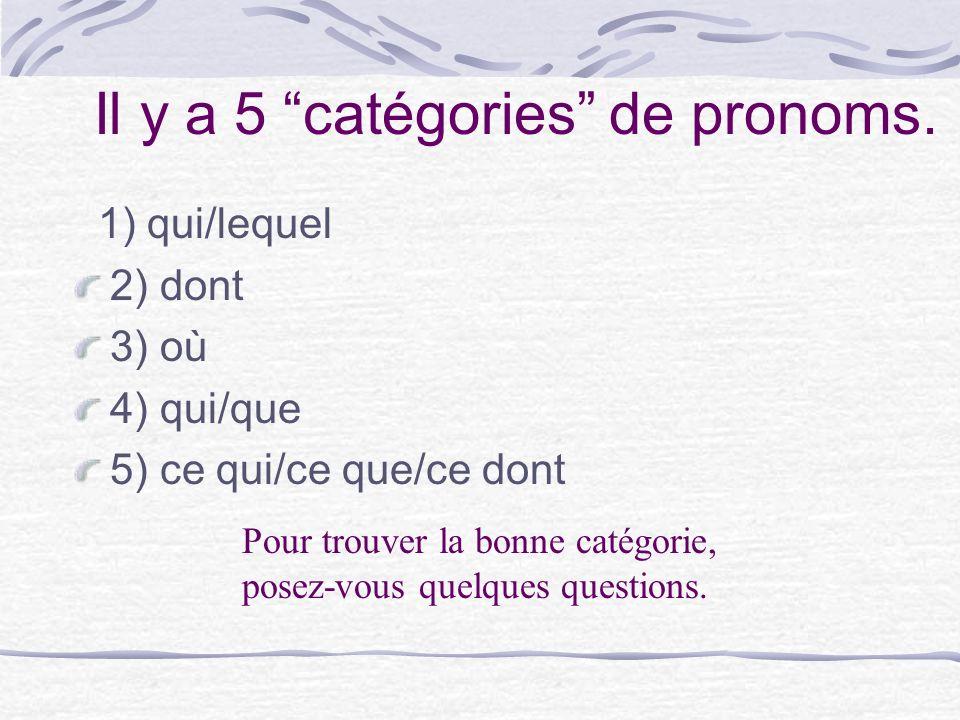Il y a 5 catégories de pronoms. 1) qui/lequel 2) dont 3) où 4) qui/que 5) ce qui/ce que/ce dont Pour trouver la bonne catégorie, posez-vous quelques q