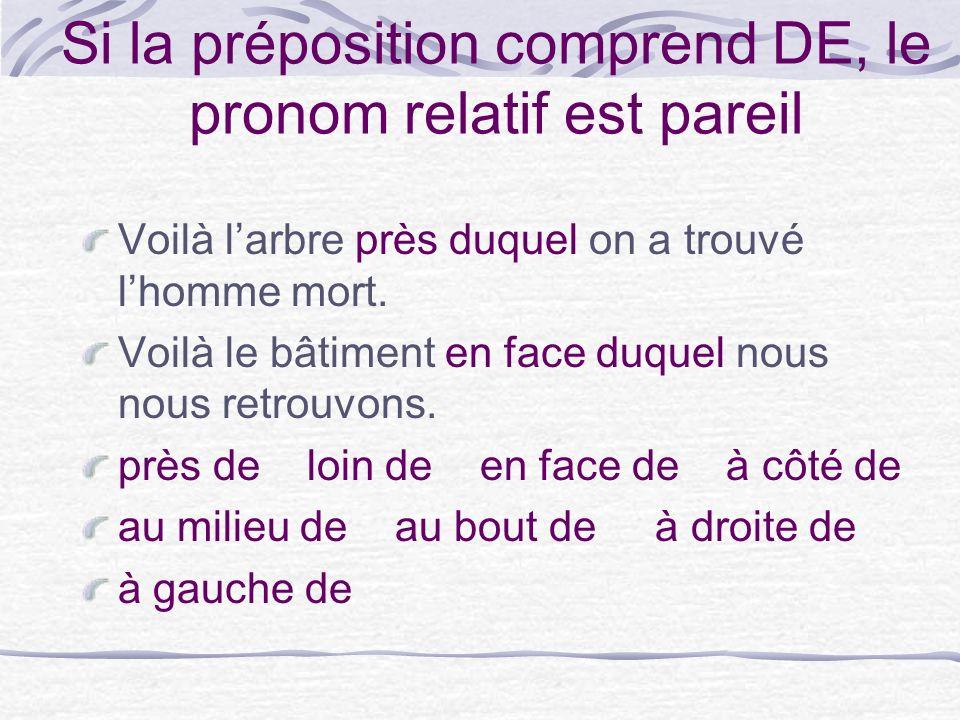 Si la préposition comprend DE, le pronom relatif est pareil Voilà larbre près duquel on a trouvé lhomme mort.