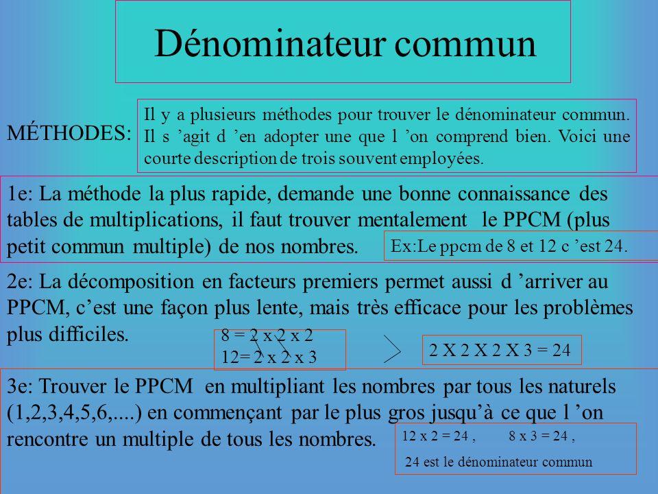 Addition et soustraction de fractions Dans la définition de l addition, on insistait sur le fait que pour additionner des nombres, on devait avoir des