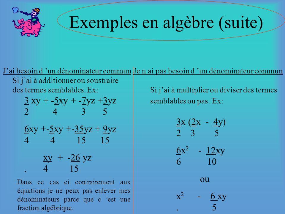 Exemples en algèbre Jai besoin d un dénominateur communJe n ai pas besoin d un dénominateur commun 2/3x + 5/4 = 3/5x _______________ 60 40x + 75 = 36x