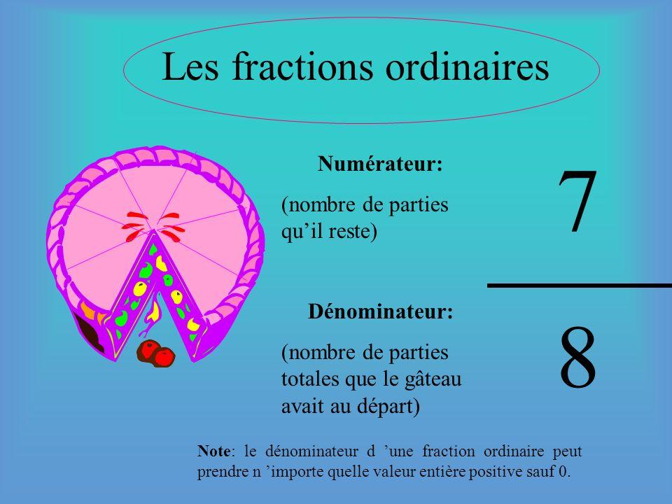 3e (Les différentes sortes de fractions) Pouvez-vous me nommer les trois sortes de fractions que lon emploie couramment? 1-___________________________