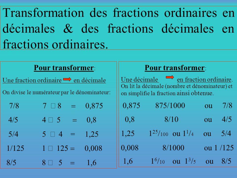 4e (Les transformations de fractions) Fraction ordinaire Fraction décimale Pourcentage 3 4,75 75%