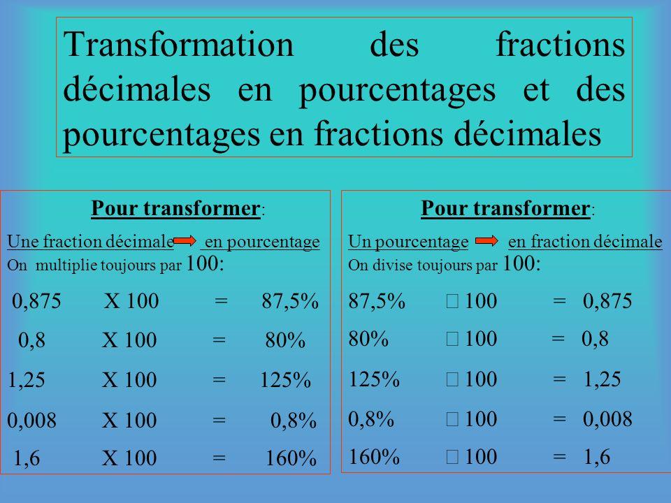 Transformation des fractions ordinaires en décimales & des fractions décimales en fractions ordinaires. Pour transformer : Une fraction ordinaireen dé