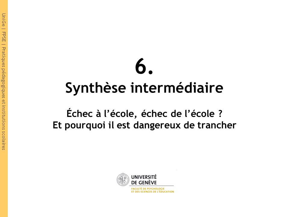 UniGe | FPSE | Pratiques pédagogiques et institutions scolaires 6. Synthèse intermédiaire Échec à lécole, échec de lécole ? Et pourquoi il est dangere