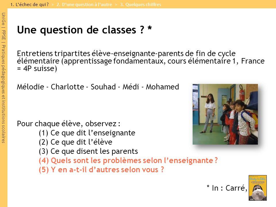 UniGe | FPSE | Pratiques pédagogiques et institutions scolaires Une question de classes ? * Entretiens tripartites élève-enseignante-parents de fin de