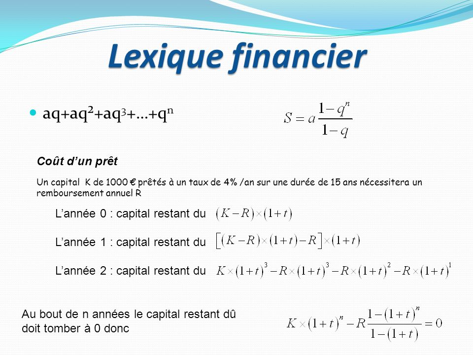 Lexique financier aq+aq²+aq 3 +…+q n Coût dun prêt Un capital K de 1000 prêtés à un taux de 4% /an sur une durée de 15 ans nécessitera un remboursemen