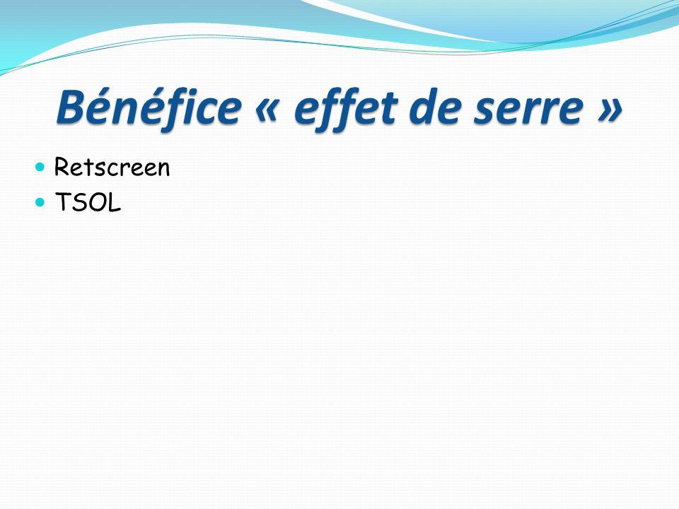 Bénéfice « effet de serre » Retscreen TSOL