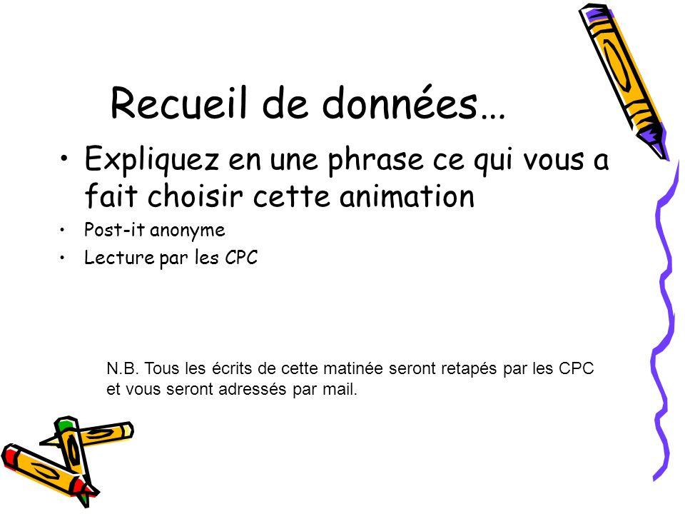 Recueil de données… Expliquez en une phrase ce qui vous a fait choisir cette animation Post-it anonyme Lecture par les CPC N.B. Tous les écrits de cet