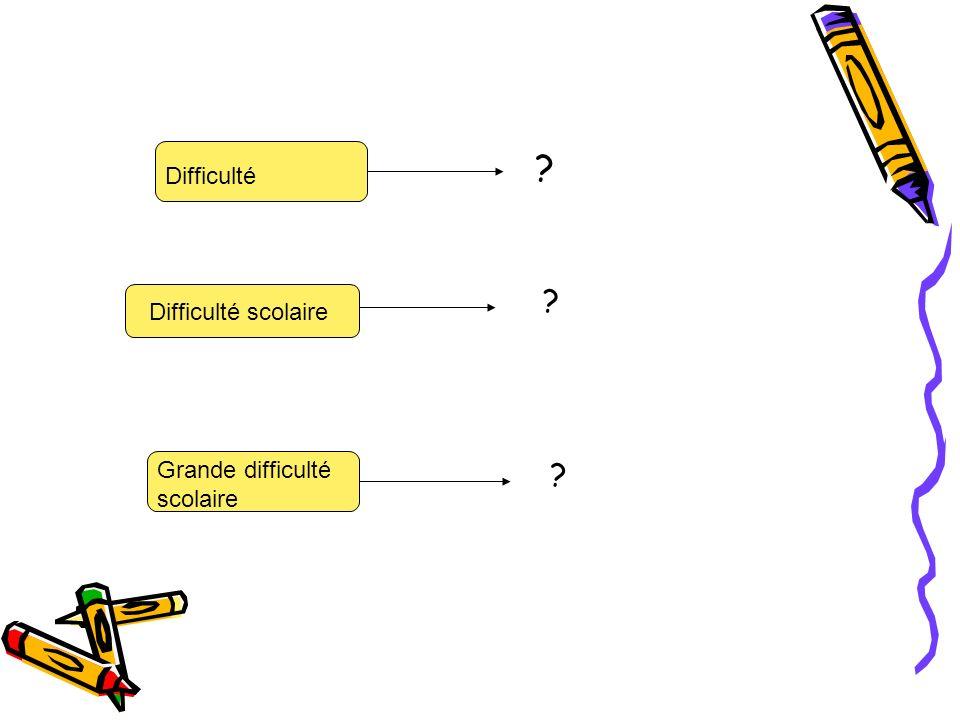 Difficulté Difficulté scolaire Grande difficulté scolaire ? ? ?