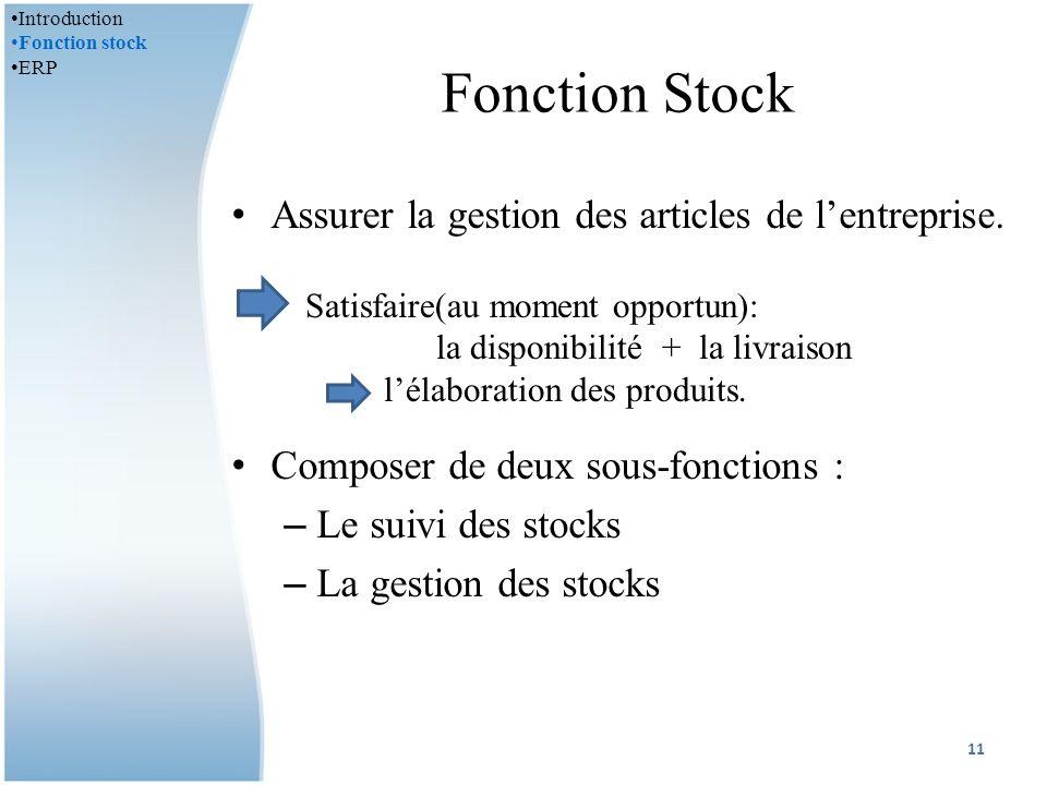 Fonction Stock Assurer la gestion des articles de lentreprise.