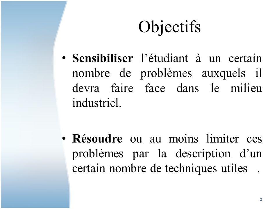 Objectifs Sensibiliser létudiant à un certain nombre de problèmes auxquels il devra faire face dans le milieu industriel.