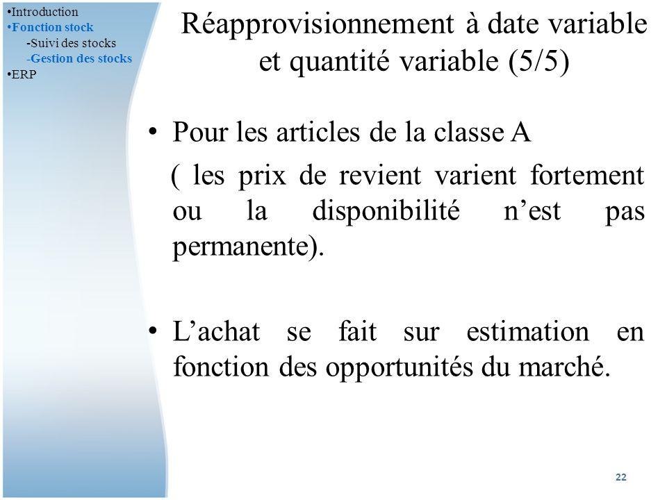Réapprovisionnement à date variable et quantité variable (5/5) Pour les articles de la classe A ( les prix de revient varient fortement ou la disponibilité nest pas permanente).