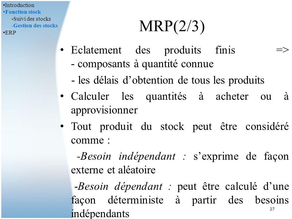 MRP(2/3) Eclatement des produits finis => - composants à quantité connue - les délais dobtention de tous les produits Calculer les quantités à acheter ou à approvisionner Tout produit du stock peut être considéré comme : -Besoin indépendant : sexprime de façon externe et aléatoire -Besoin dépendant : peut être calculé dune façon déterministe à partir des besoins indépendants 27 Introduction Fonction stock -Suivi des stocks -Gestion des stocks ERP