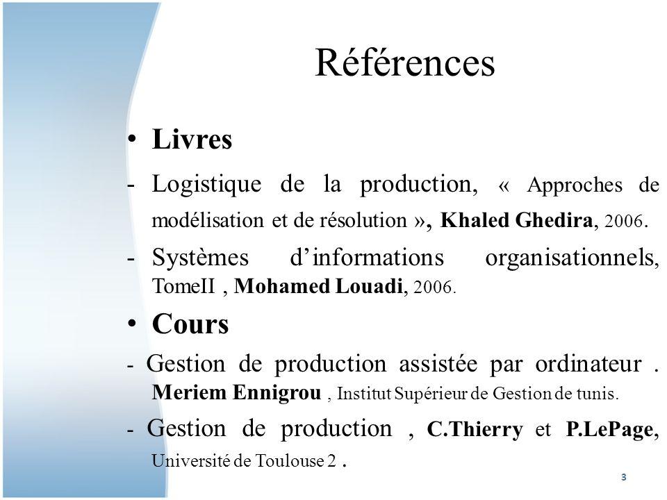 Références Livres -Logistique de la production, « Approches de modélisation et de résolution », Khaled Ghedira, 2006.