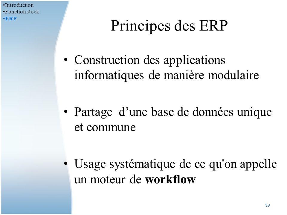Principes des ERP Construction des applications informatiques de manière modulaire Partage dune base de données unique et commune Usage systématique de ce qu on appelle un moteur de workflow 33 Introduction Fonction stock ERP
