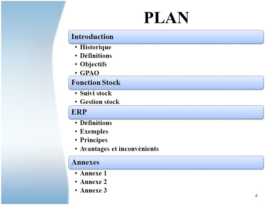 PLAN Introduction Historique Définitions Objectifs GPAO Fonction Stock Suivi stock Gestion stock ERP Définitions Exemples Principes Avantages et inconvénients Annexes Annexe 1 Annexe 2 Annexe 3 4