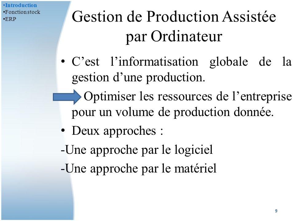 Gestion de Production Assistée par Ordinateur Cest linformatisation globale de la gestion dune production.