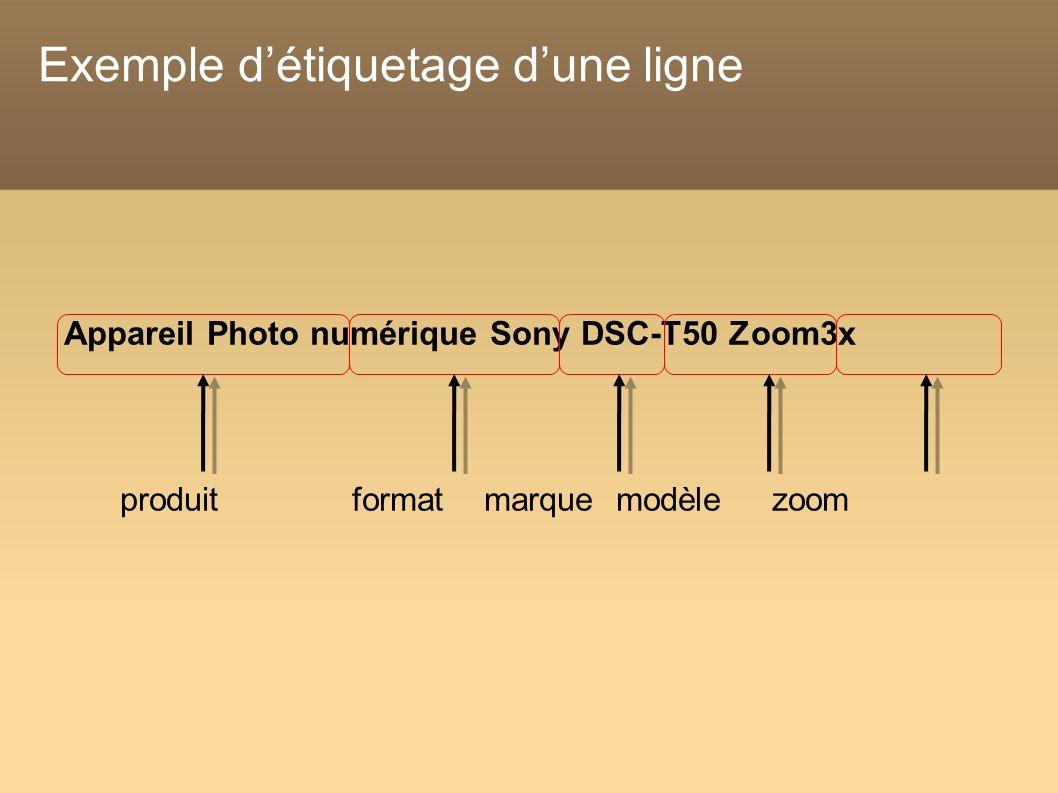 Exemple détiquetage dune ligne Appareil Photo numérique Sony DSC-T50 Zoom3x produit format marque modèle zoom