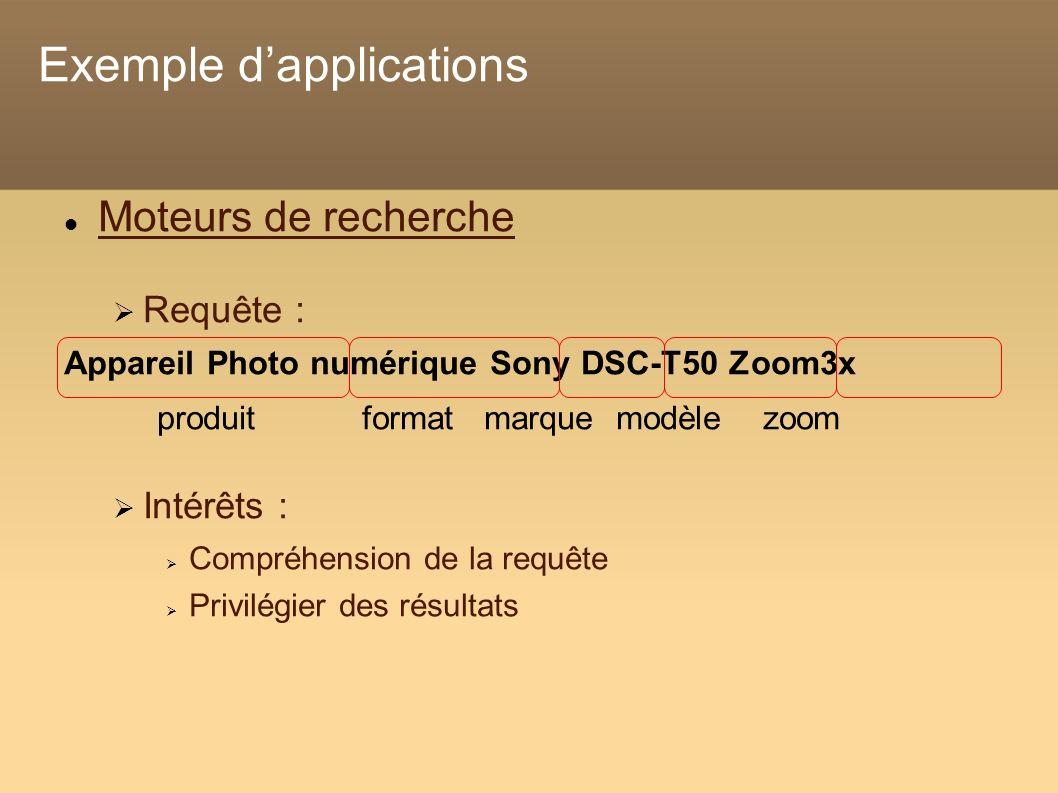 Exemple dapplications Moteurs de recherche Requête : Appareil Photo numérique Sony DSC-T50 Zoom3x produit format marque modèle zoom Intérêts : Compréhension de la requête Privilégier des résultats