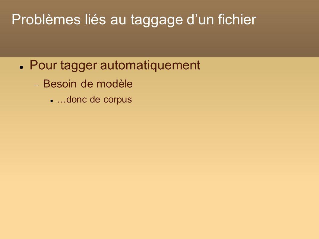 Problèmes liés au taggage dun fichier Pour tagger automatiquement Besoin de modèle …donc de corpus