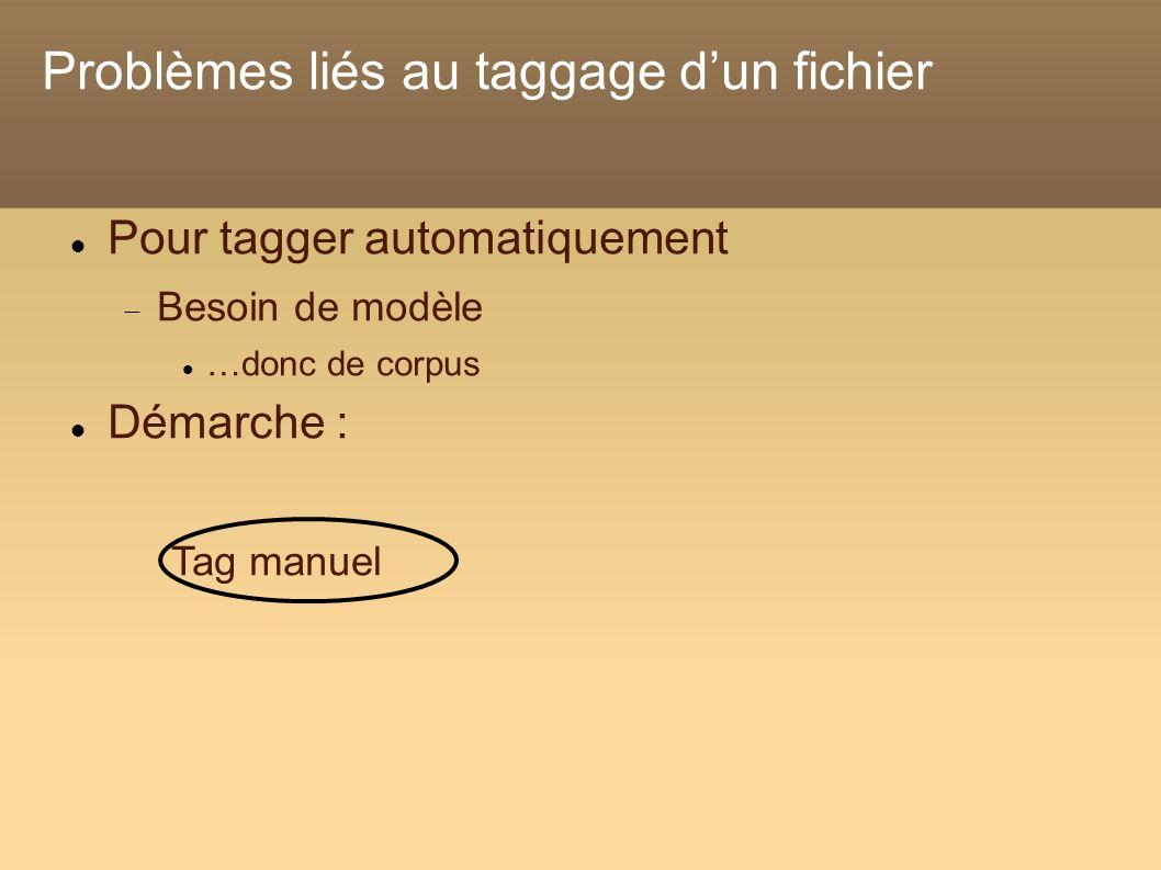 Problèmes liés au taggage dun fichier Pour tagger automatiquement Besoin de modèle …donc de corpus Démarche : Tag manuel