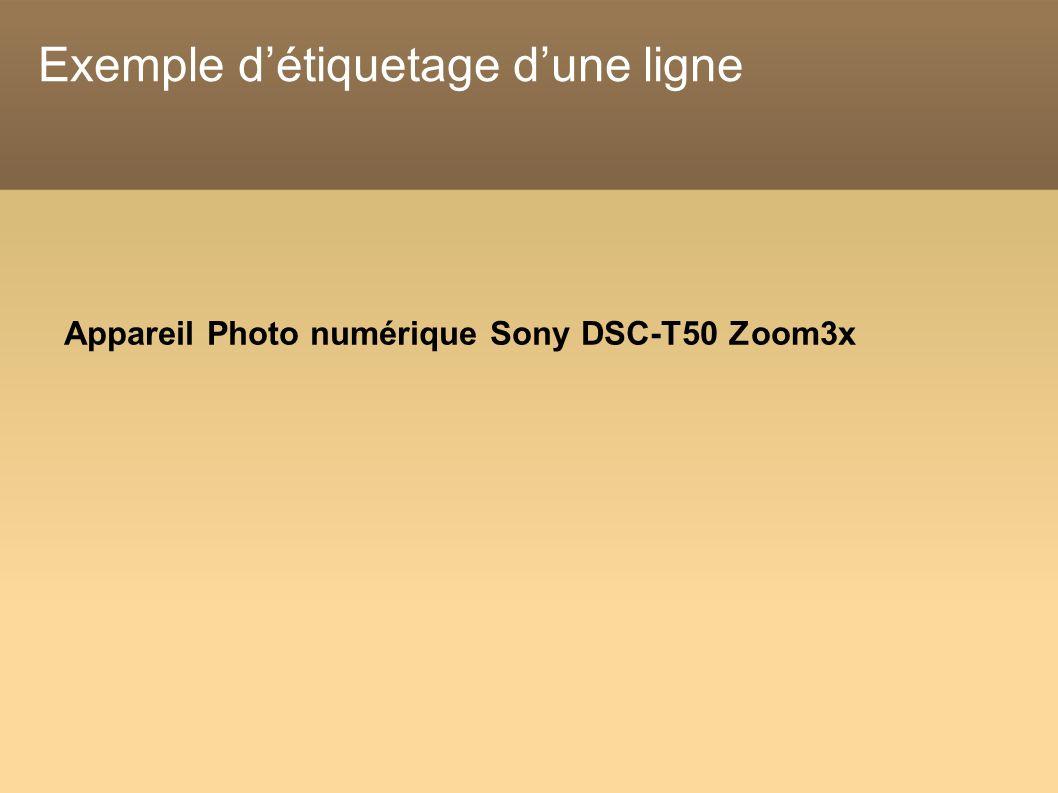 Exemple détiquetage dune ligne Appareil Photo numérique Sony DSC-T50 Zoom3x