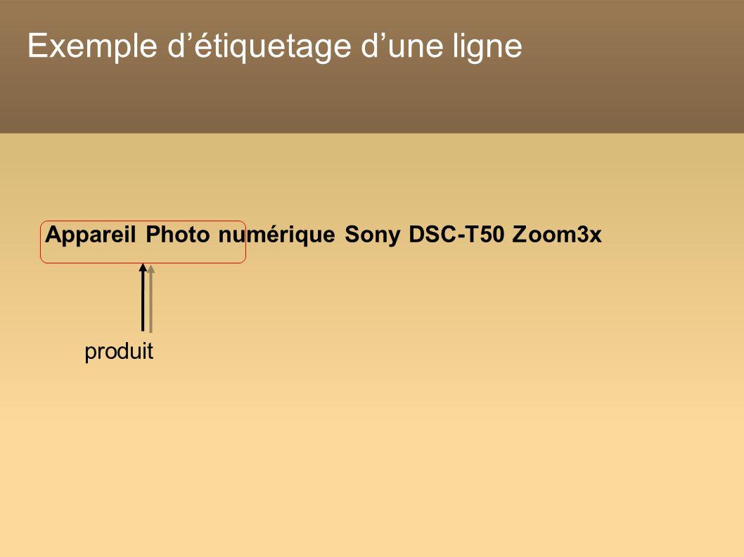 Exemple détiquetage dune ligne Appareil Photo numérique Sony DSC-T50 Zoom3x produit
